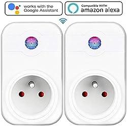 Intelligente Prise,Prise Connectée Intelligente WiFi Prise Compatible avec Android iOS Alexa Prises Télécommandées Prise Courant Intelligente Prise de Courant Mise en Veille Programmable Smart