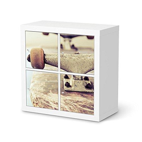Möbeldekor für IKEA Kallax Regal 4 Türelemente | Dekor-Folie Klebesticker Tapete Folie Möbel folieren | kreativ einrichten Jugendzimmer Wohnaccessoires | Design Motiv Skateboard (Skateboard-zimmer Dekor)