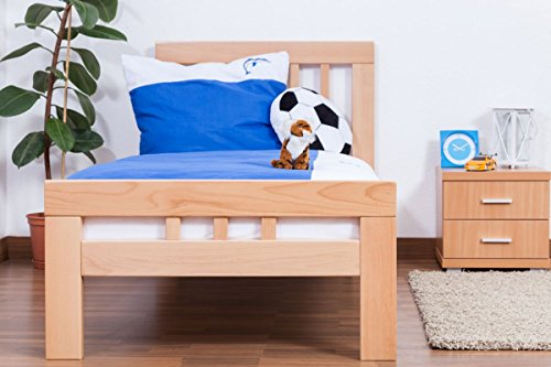 """Children's bed / youth bed """"Easy Sleep"""" K8, solid, natural beech wood - Dimensions: 90 x 200 cm"""