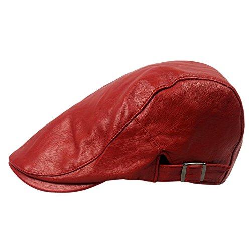 Cosanter Sportmütze Herrn Schiebermütze Flatcap Newsboy Flatcap PU Gatsby Schirmmütze Kappe, Rot