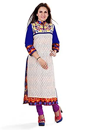 Nextar Women's Printed Embroidery Long Kurti