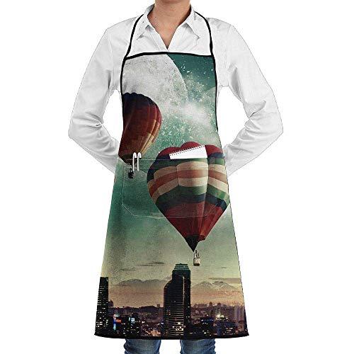 Sangeigt Küche, die Garten-Schürze kochtn, Bib Apron with Pockets City Hot Air Balloons Durable Cooking Kitchen Aprons