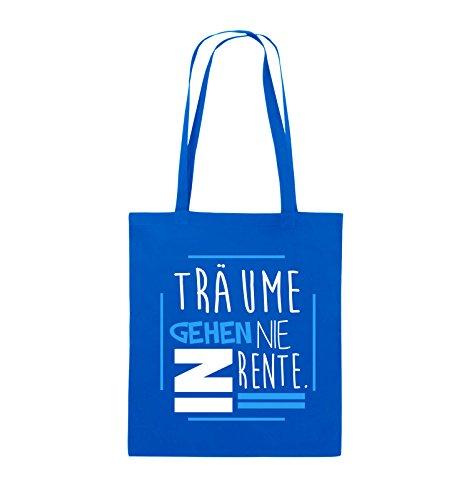 Comedy Bags - Träume gehen nie in Rente. - Jutebeutel - lange Henkel - 38x42cm - Farbe: Schwarz / Weiss-Neongrün Royalblau / Weiss-Hellblau