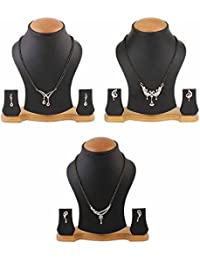 Zeneme Women's Pride American Diamond Gold Plated Mangalsutra Combo Pendant With Chain For Women Set Of 3