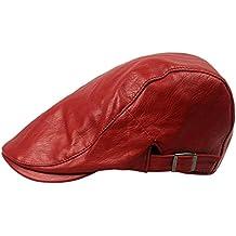 Fablcrew Vintage Cappello in Pelle Artificiale Uomo Newsboy Caldo Berretto  Baschi Uomini Invernale Size 55- fcd42562ba76