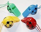 4er Set Trillerpfeifen, Signalpfeifen, Pfeifen Kunststoff mit Kordel im Fussball Design rosa/grün/blau/gelb, 0904
