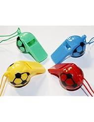 """4er Set Trillerpfeifen, Signalpfeifen, Pfeifen Kunststoff mit Kordel im """"Fussball Design"""" rosa/grün/blau/gelb, 0904"""