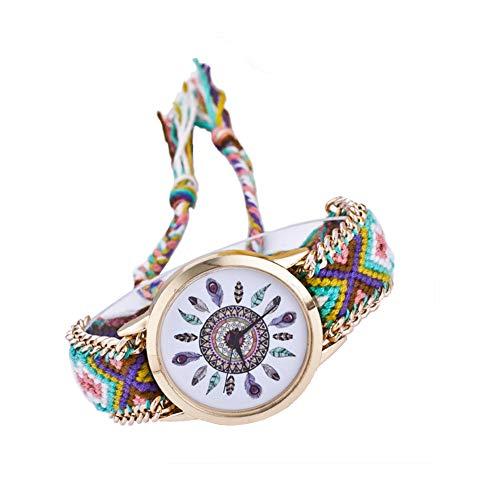jingyuu Reloj de Pulsera Estilo Hippie Reloj de Cuarzo Mujer Diseño d