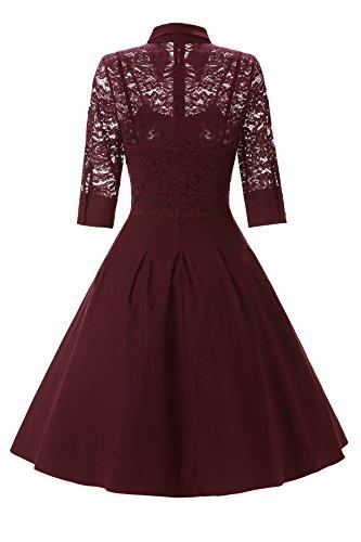 Gigileer Elegant Damen Kleider Spitzenkleid Cocktailkleid Winter Knielanges 3/4 Arm festlich hochzeit Burgundy