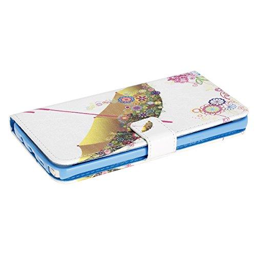 Samsung Galaxy Note 5 Hülle, SainCat Ledertasche Brieftasche im BookStyle PU Leder Muster Hülle Wallet Case Folio Schutzhülle Bumper Handytasche Backcover Handy Tasche Flip Cover Buchstil Klapptasche  Parapluies colorés