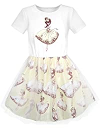 Sunny Fashion Girls Dress Dancing Girl Print Tutu Short Sleeve Age 5-10 Years