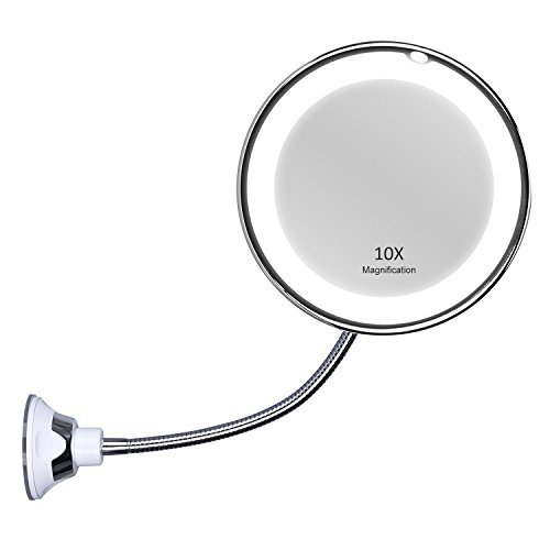 KEDSUM Flexible Gooseneck 11.5 10 X Magnifying LED Lighted Mirror Illuminated ,Bathroom Vanity Mirror with Strong Suction Cup, 360 Degree Swivel,Daylight,Cordless & Compact Travel Mirror