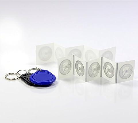 NFC Starter Kit M - 2 NFC Anhänger + 10 NFC Sticker, wasserabweisend, kompatibel mit allen NFC Geräten, perfekter Einstieg in die NFC (Nfc Sticker)
