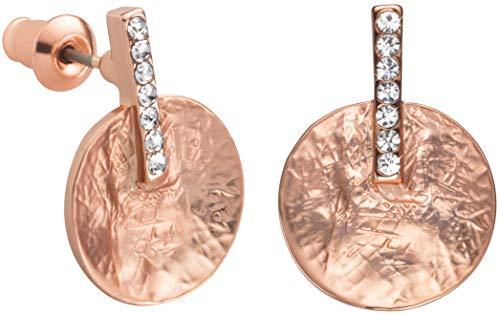 Perlkönig | Damen Frauen | Ohrringe Set | Ear Cuffs | Rosegold Farben | Blättchen | Glitzer Steine | Stecker | Nickelfrei