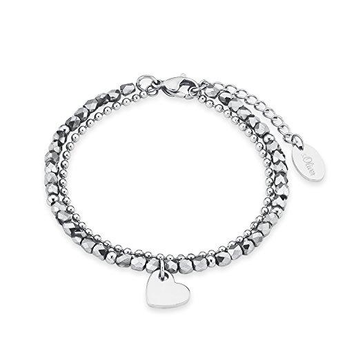 s.Oliver Damen Armband mit Herz-Anhänger, Armkette aus glänzendem Edelstahl, mit silberfarbenen Glasperlen, doppelreihig, längenverstellbar: 16 - 20 cm