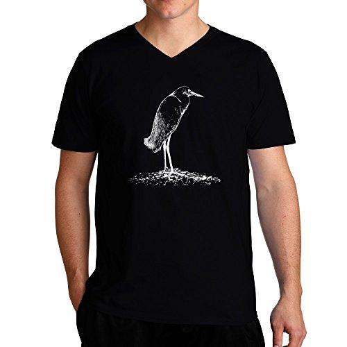 Eddany Snowy Egret sketch V-Ausschnitt T-Shirt - Snowy Egret Tiere