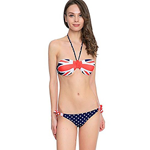 Frauen Bikini Badeanzug WANGXN Niedrige Taille Britische Flagge Hängende Hals Kleine Brust Split Badeanzug Bikini , color , (Flagge Kleider Britische)