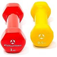 Set Pesi in vinile »Hexagon« Pesetti disponibili in tantissime varianti di peso e colore / 0,5 kg, giallo / 3kg, rosso