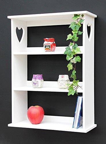 Regal Kräuterregal mit Herz 12013 50cm Weiß Wandregal Vintage Shabby Landhaus Küchenregal