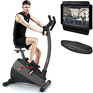 Sportstech ESX500 Ergometer – Deutsche Qualitätsmarke – Video Events & Multiplayer APP + 5,5″ Display, 12KG Schwungmasse, Pulsgurt kompatibel – Fitness-Bike Heimtrainer mit flüsterleisem Riemenantrieb
