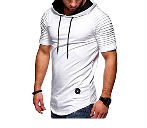 Aooword-men clothes Herren stripes lässige workout fitness gym Large Weiß (Pullover Stricken Elfenbein-kabel)