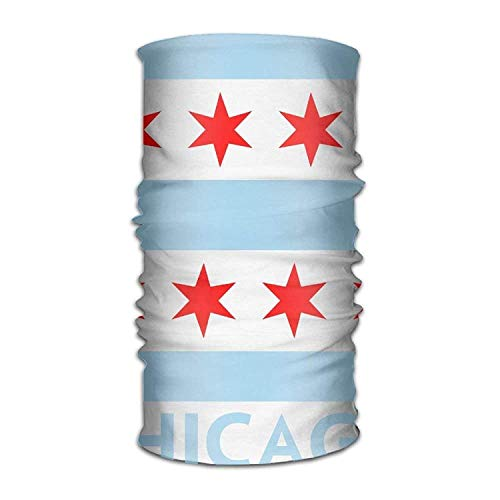 Unisex Stylish Chicago Flag Quick Dry Microfiber Headwear Outdoor Magic Bandana Neck Gaiter Head Wrap Headband Scarf Face Mask Ultra Soft Elastic Handscarf New10 (Face Lab Mask)