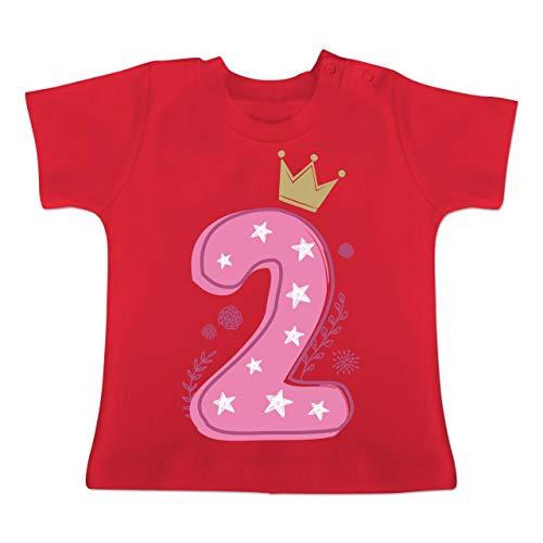 Geburtstag Baby - 2. Geburtstag Mädchen Krone Sterne - 18-24 Monate - Rot - BZ02 - Baby T-Shirt Kurzarm -