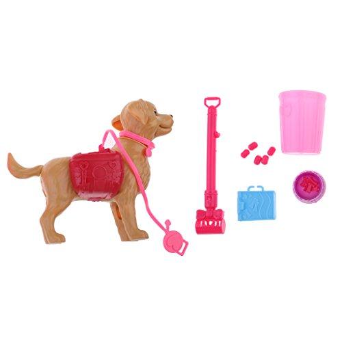 Gazechimp Mini Perro Cachorro con Aceesorio Surtido para Barbie Dolls Juguetes de Imaginación pra Niño al Azar