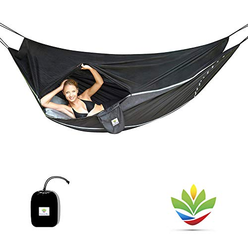 Hammock Bliss Sky Bed Bug Free - Insect Free Hanging Tent That Hangs Like A Hammock But Sleeps Like A Bed - Unique Asymmetrical Design Creates An Amazing Lay Flat Camping Hammock Sleeping Experience - Hängematte Eno Net