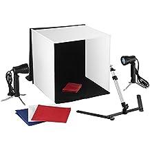 Mvpower Estudio Fotográfico Kit Portátil con 1X Caja de Luz 1X Trípode de Cámara 2X Lámparas 50W 4X Fondos (Blanco Azul Negro y Rojo)