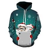 Xmiral Hoodies Herren Weihnachten Pullover Schneemann-Weihnachtsmann 3D gedruckte langärmelige mit Kapuze (4XL,Grün)