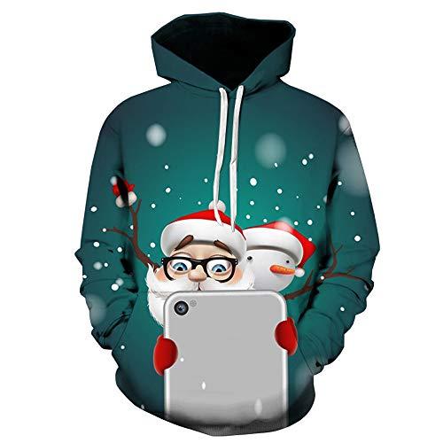 EUZeo Unisex Weihnachts 3D Drucken Langarm Tops Paar Stil Casual Pullover Weihnachten Herren Damen Schneemann Kapuzenpulli Kapuzenpullover (Weihnachten Paar Pullover)