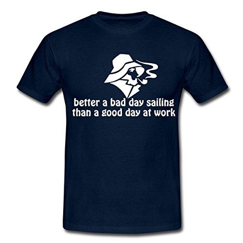 Spreadshirt Segel Spruch Sailing Segeln Spruch Männer T-Shirt, XL, Navy