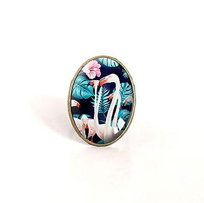 Bague cabochon ovale, Flamant rose, tropical, turquoise et rose, bronze