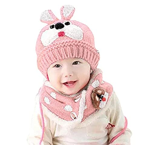 kingko® Baby Toddler Enfants Garçon Fille tricotée Enfants Belle douce Hat + écharpe Two Piece Set (rose)