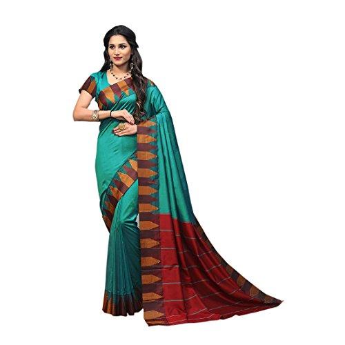 Craftsvilla Women's Silk saree Blend with Zari border Work Traditional Blue Saree...