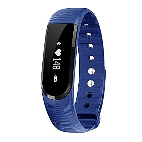 morefit H7imperméable montre moniteur de fréquence cardiaque, RH sans fil d'activité + Sommeil Bracelet, Bleu