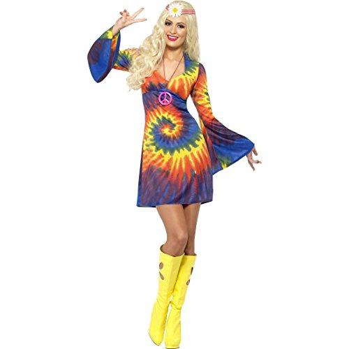 Blumenkind Kostüm - 70er Jahre Kostüm Hippie Kleid S 36/38 60er Jahre Vintage Hippiekleid Flower Power Damenkleid Blumenkind Mottoparty Hippiekostüm Retro Party Faschingskostüm Karneval Kostüme Damen Sexy