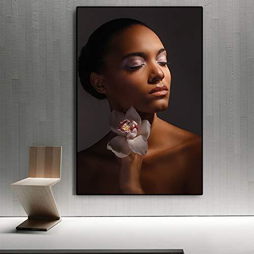 sanzangtang Schöne nackte afrikanische Frau mit Blume Leinwand Malerei Poster und Drucke rahmenlose skandinavische Wohnzimmer 20x30cm