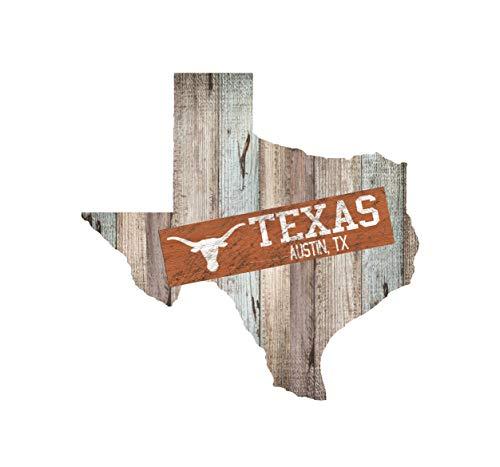 Fan Creations NCAA Texas Longhorns Holzschild, 61 x 58 cm, Distressed State Cutout mit Teamplank, modulares Schild (Texas Longhorn Dekorationen)
