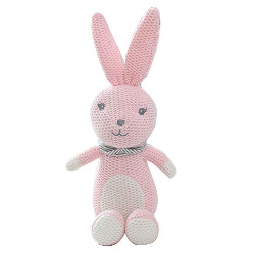 Creamon Baumwolle gestricktes Tier Puppe Plüschtier, Kids Stofftier Spielzeug Baumwolle gestricktes Tier Puppe Cute Baby Pacified Plüschtiere Geschenk pink & weiß