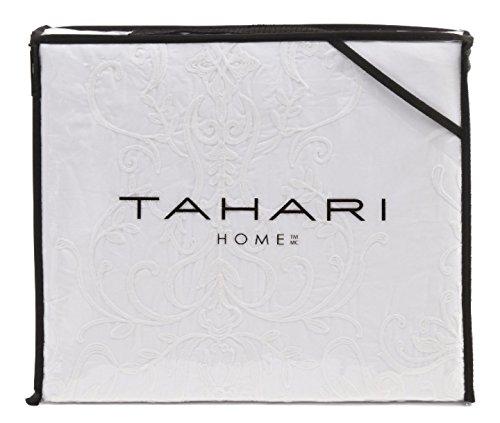 Tahari King Bettbezug Set Weiß Bestickt Medaillon auf Weiß Betten 3Stück Baumwolle - Lauren-cover-set Ralph