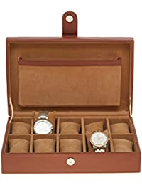Leather World PU Leather Watch Box Case (Brown,holds upto 10 Watches )