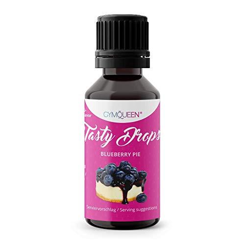 GymQueen Tasty Drops 30ml   Kalorienfreie, Zuckerfreie und Fettfreie Flavour Drops   Aroma Tropfen zum Süßen von Lebensmitteln   Geschmackstropfen ohne Künstliche Farbstoffe I Blueberry Pie