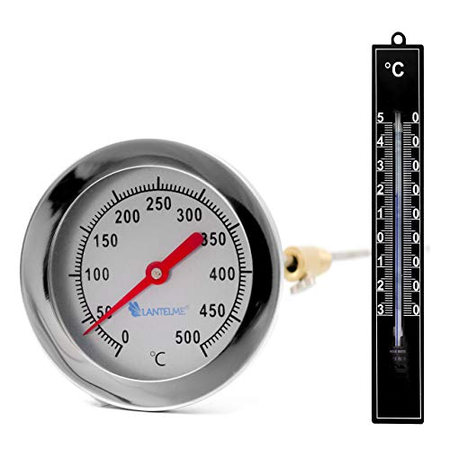 Lantelme 500°C Grillthermometer 30 cm Sonde Edelstahl Set 2 Tlg Grill Garten Thermometer Analoge Temperaturanzeige 4240 -