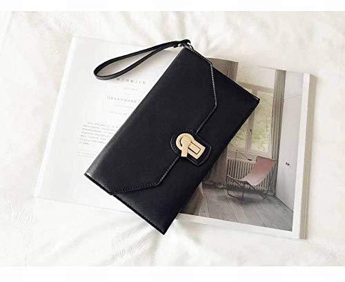 Mindruer Portemonnaie Kreative Mode Mode Multifunktionskupplung Frauen Alle Spiel Kupplung Große Kapazität Kupplung Umschlag Tasche für Frauen (Farbe : Black)