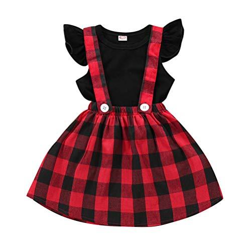 leid Weihnachten Outfits 2 Teile/Satz Kleinkind Mädchen Langarm Rüschen Top Overall Plaid Rock Kleidung Set (3-4 Jahre) (4-5 Jahre, Kurze Ärmel) ()