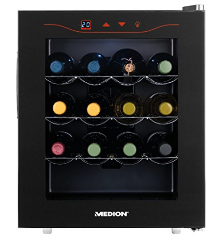 MEDION MD 15803 Minibar Weinkühlschrank klein und extra leise (43 dB), 46 Liter Volumen (16 Flaschen), 11-18° C Thermostat mit LED Touch Display, Mini Kühlschrank ohne Kompressor und Kältemittel, Maße (BxHxT): ca. 47 x 56,5 x 55 cm - Farbe: Schwarz