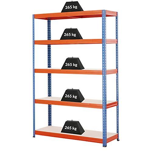 Certeo Rayonnage métallique | HxLxP - 178 x 120 x 40 cm | Charge maximale de 200 kg par étagère | Profondeur 40 cm | Charge totale acceptable 1000 kg | Rayonnage pour charges lourdes