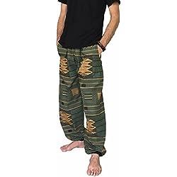 Love Quality Amor Calidad Baggy-Pantalones de Escalada para Hombre Talla única Impreso 100% algodón harén Pantalones Hippie Boho - Verde -